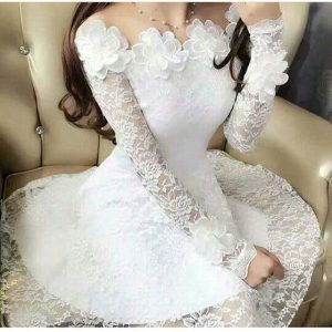 White Short Lace Frock