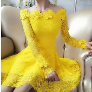 Yellow Short Lace Frock