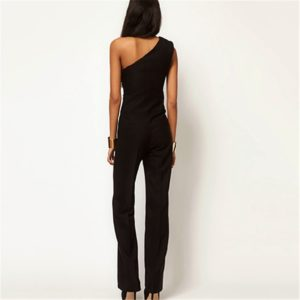Women's One-Shoulder Off Overall Jumpsuit with Bell Bottoms - Sasta.PK