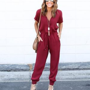 Women`s Thin Lace Short Sleeves Jumpsuit - Sasta.PK