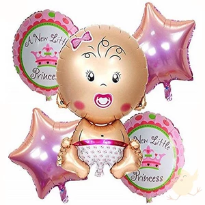 A New Little Princess - Baby Girl & Boy Celebration Balloons (Pack of 5)