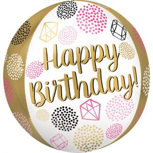Party Texture Happy Birthday Orbz Foil Balloons