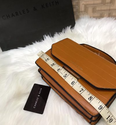Charles And Keith Crossbody With Long Strap Crocodile Texture