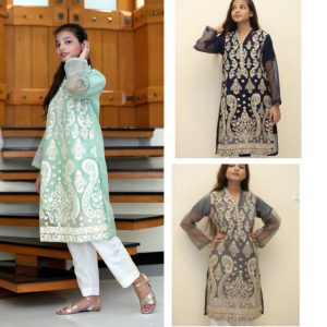 Kishmish Khaas Embroidered Net Sleeves Kurti