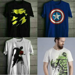Pack Of 4 T-Shirt (Batman Dark Knight, Captain America , Soccer & Angry Hulk)