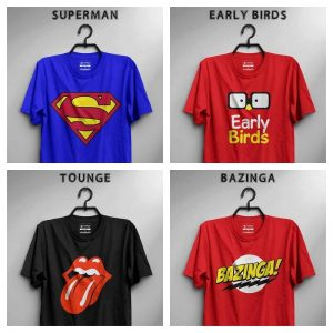 Pack Of 4 T-Shirt (Superman, Early Birds, Tongue & Bazinga)