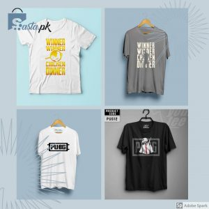 Pack Of 4 T-Shirt (Winner Winner Chicken Dinner, Winner Winner Chicken Dinner (Pan), PUBG & PUBG Logo)