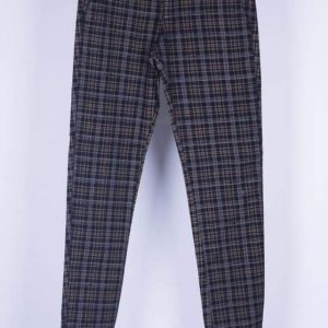 Men Skinny Fit Checkered Chinos