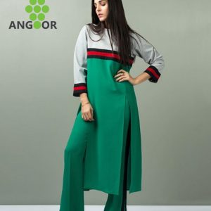 Sea Green Tunic With Ruched Waistline And Lace Detailing