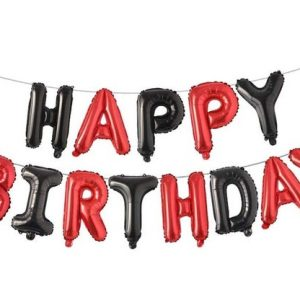 Happy Birthday Foil Balloons In Red And Black Colors
