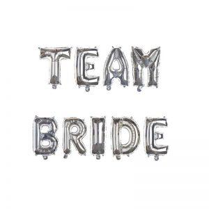 Team Bride 9 Letter Silver Foil Balloons